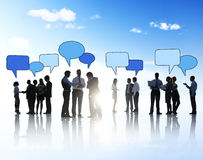 Business People Outdoors and Speech Bubbles Royalty Free Stock Photography
