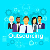 Business People Outsourcing Team Diverse Group. Flat Vector Illustration Royalty Free Stock Photography