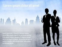 Business people over urban background with space for text. Vector stock illustration