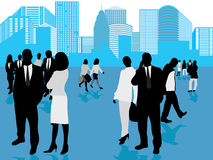 Business people and panorama o. Vector illustration of business people and panorama of city Stock Images
