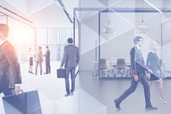 Business people in panoramic office stock image