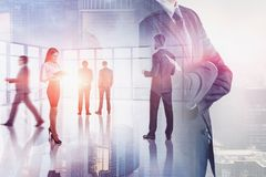 Business people in panoramic office royalty free stock images