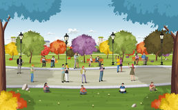 Business people in a park with smart phones and computers. Nature landscape Stock Images