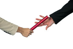 Business people passing a baton. On white background stock images