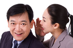 Business people passing positive business news Stock Image
