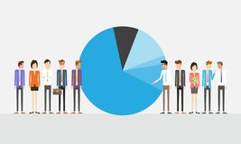 Business people with pie chart and market share concept Stock Image