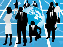 Business people and the planet. Vector illustration of business people and the planet Stock Photos