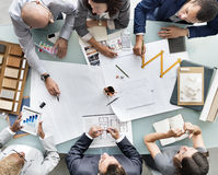 Business People Planning Blueprint Architecture Concept Royalty Free Stock Photography