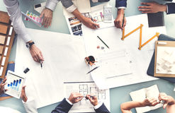 Business People Planning Blueprint Architecture Concept Stock Photography