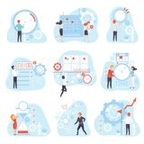 Business People Planning and Controlling Working Time Set, Time Management Business Concept Vector Illustration. On White Background stock illustration