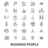 Business people, planning, working, teamwork, human resources, management line icons. Editable strokes. Flat design. Vector illustration symbol concept. Linear Stock Photography