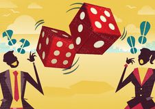 Business People play the Dice of Business Fortune. Royalty Free Stock Photo