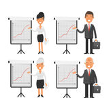Business people point to flip chart Stock Photo