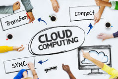 Business People Pointing to Cloud Computing Concepts Stock Image