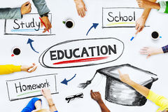 Business People Pointing to Education Concepts.  Royalty Free Stock Photography