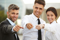 Business People pointing at you. Royalty Free Stock Image