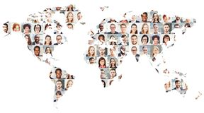Business people portrait collage on world map stock image