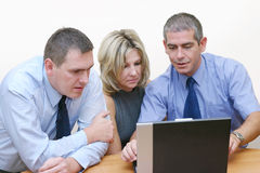 Business people - Presentation. A team working on the laptop. Main focus is on the man on the left Royalty Free Stock Photography