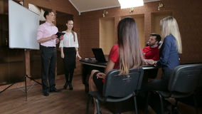 Business people at presentation in office. stock video footage