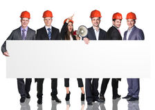 Business people presenting empty banner Stock Image