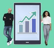 Business people presenting a growing graph online royalty free stock image