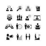 Business people, professional team, office group, management, handshake, training vector icons set Stock Photos