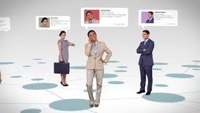 Business people with profile info standing on map