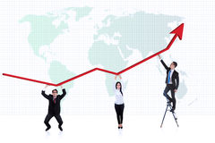 Business people profit chart. Line chart that shows increase in profit with the support of three business people on world map background Stock Photos