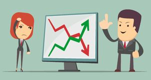 Business people with profit and loss arrow Royalty Free Stock Photography