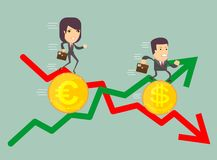 Business people with profit and loss arrow. Business people run a race on the currency, the concept of currency exchange rates Royalty Free Stock Photo