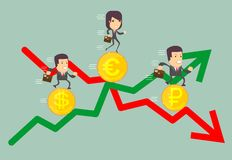 Business people with profit and loss arrow. Business people run a race on the currency, the concept of currency exchange rates Royalty Free Stock Images