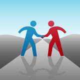 Business People Progress Together Handshake. People join in a handshake & agree to progress together & cooperate in a business or other deal as a team Stock Images