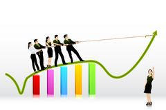 Business People pulling Arrow on Bar Graph. Easy to edit vector illustration of business people pulling arrow on bar graph royalty free illustration