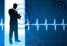 Business people on pulse background Stock Photos