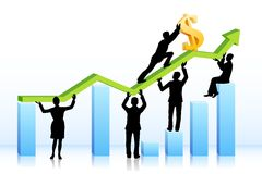 Business people pushing Dollar on Graph. Easy to edit vector illustration of business people pushing dollar on bar graph royalty free illustration