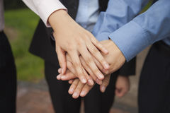 Business people putting their hand together as sign of team working and cheering, close-up Royalty Free Stock Photos