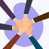 Business people putting their hands together. Flat design modern royalty free stock photography