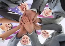 business people putting their hands together for independence day Stock Image