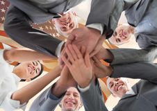 Business people putting their hands together for independence day Stock Photos