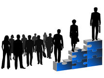 Business people and puzzle. Illustration of business people and blue puzzle Royalty Free Stock Photo
