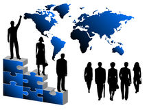 Business people, puzzle and map Royalty Free Stock Photo
