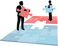 Business people puzzle solution collaboration. Business people hold missing puzzle pieces needed for solution to collaboration merger partnership problem Royalty Free Stock Image