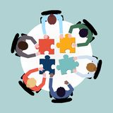 Business people puzzle stock illustration