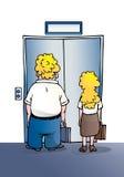 Business-people que esperan el elevador stock de ilustración