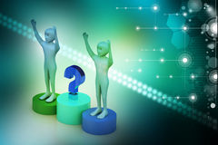 Business people with question mark Stock Photo