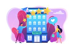 Boutique hotel concept vector illustration. Business people with rating stars like the stylish boutique hotel. Boutique hotel, ultra-personalized service, high vector illustration