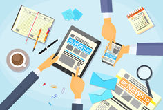 Business People Read Newspaper, Hands Tablet Smart Stock Image
