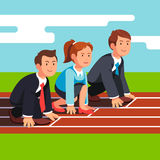 Business people ready to sprint run on race track vector illustration