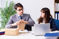The business people receiving new mail and parcels. Business people receiving new mail and parcels Royalty Free Stock Image
