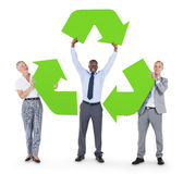 Business People with Recycle Sign Stock Image